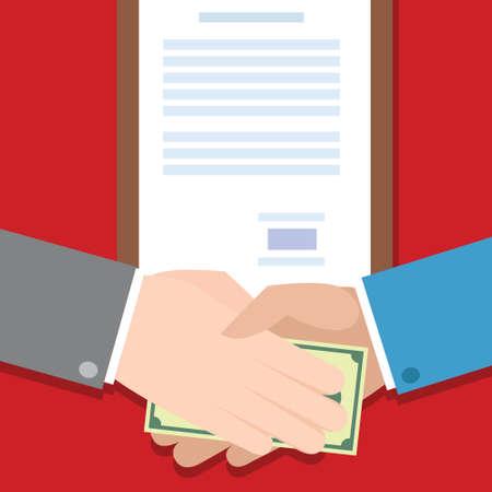 corruption people bribe hand money gratification vector illustration Illustration