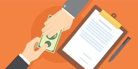 corruption people bribe handed over gratification vector illustration  イラスト・ベクター素材