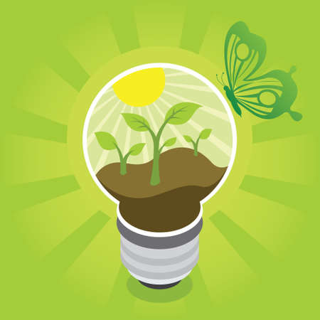green energy tech eco environment friendly technology with bulb vector illustration