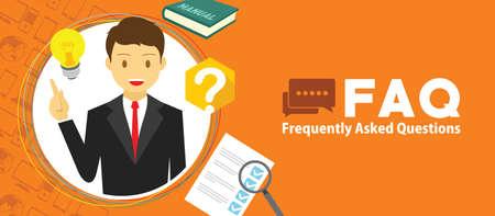 FAQ vaak gevraagd met een man en vraagteken vector illustratie