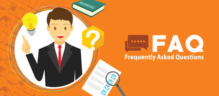 FAQ frequently asked with a man and question mark vector illustration