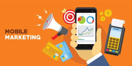 Mobiles Marketing-Konzept des Internets mit Smartphonevektorillustration Standard-Bild - 82233420