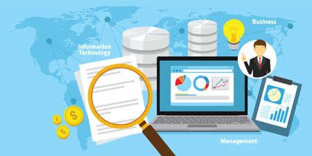 Business intelligence concept vector achtergrond illustratie met verschillende items en symbolen ontwerp
