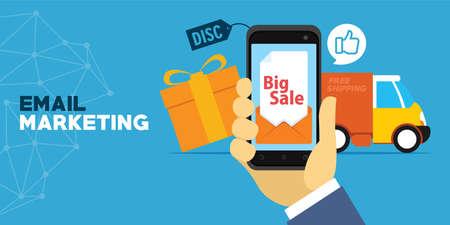 Mobiele marketing met e-mail vector illustratie concept Stock Illustratie