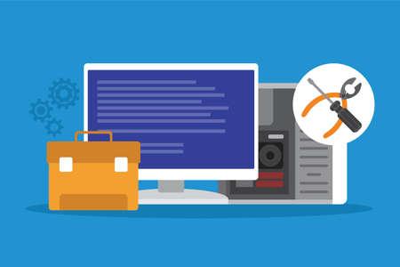 repair error and broken computer service vector illustration design Illustration