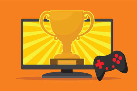 video game winner with award and achievement  イラスト・ベクター素材