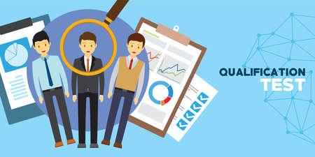 kwalificatie en vaardigheidstest voor werkgelegenheid vector illustrator concept Stock Illustratie