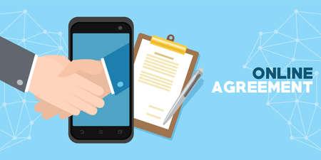 Online agreement with digital sign illustration. Иллюстрация