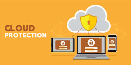 internet and server database cloud protection vector illustration