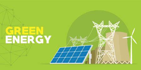 Groene energiecentrale vector illustratie ontwerp Stock Illustratie