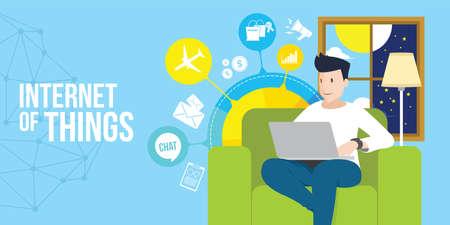 internet van dingen man toegang internet met laptop vector illustratie Stock Illustratie