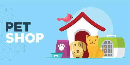 pet shop with cats and dogs house illustration vector