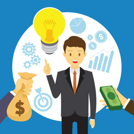 man selling idea for business vector illustration design