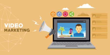 Video-Marketing mit Vlog und Werbung Vektor Illustrator Standard-Bild - 83564206