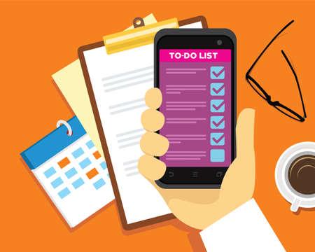 Reisen zu tun Liste und Zeitmanagement-Vektor-Illustration Standard-Bild - 83565812