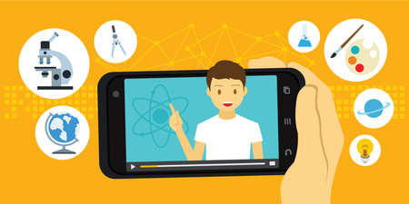 Tutorial and e-learning education video via mobile smartphone vector illustration  イラスト・ベクター素材