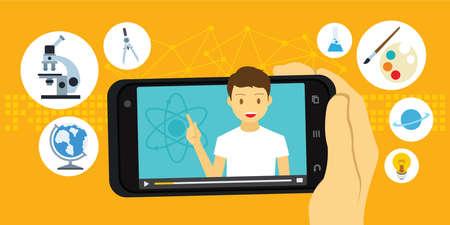 Tutorial and e-learning education video via mobile smartphone vector illustration Illustration
