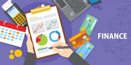 financial analysis with laptop and diagram illustration Illustration
