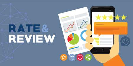 Anwendungsbewertung und Überprüfung durch Benutzer Vektorgrafik