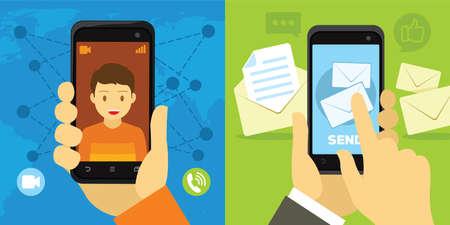videogesprek en bericht van smartphone Stock Illustratie