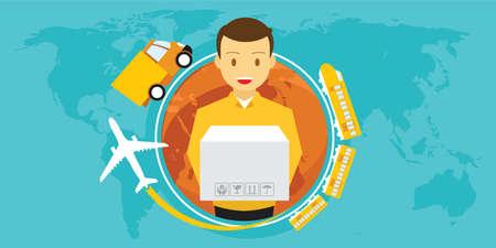 Bezorgservice over de hele wereld vectorillustratie Stock Illustratie