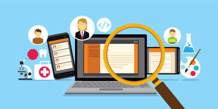 Erecruitment websiter voor online werkzoekenden Stock Illustratie