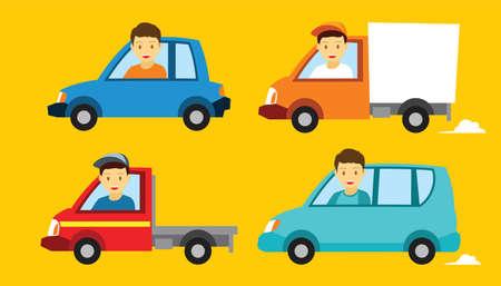 Various vehicle car illustration flat design  イラスト・ベクター素材