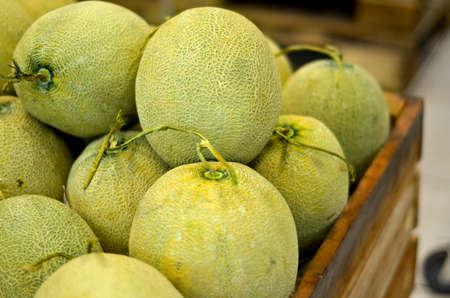 Green melon in crate at supermarket
