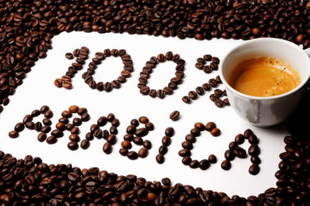 Frame of coffee beans and text 100 % arabica photo