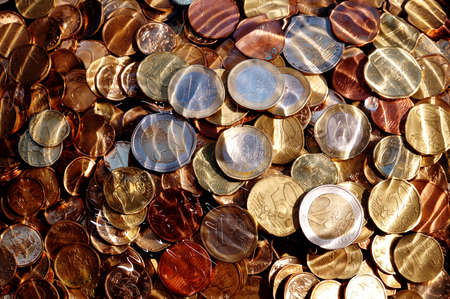 money,euro coins under water,suitable for background and texture photo
