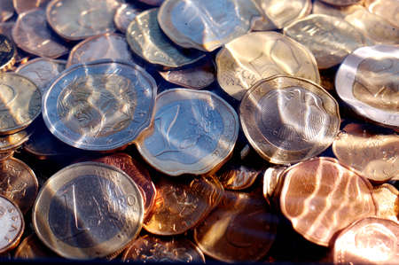 money,euro coins under water,suitable for background and texture Stock Photo - 12146074