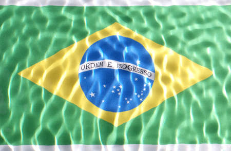 Brazilian flag under water with nice cirgles and ripples photo