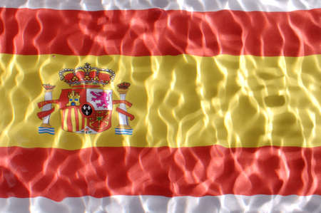 Spain flag under water with nice circles and ripples Stock Photo