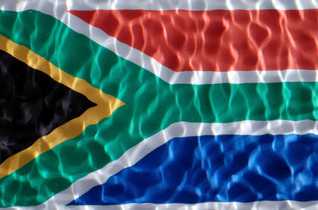 south africa flag under water with nice circles and ripples Stock Photo