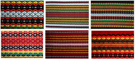 Sześć różnych haft w jednym 18mp pliku tradycyjnych haftów bułgarski, stosowanych na okładkach, suknie, serwetki, tableclodes rosyjskiego, ukraiński, serbski, ungarian, turecki, grecki, serbski są podobne Zdjęcie Seryjne - 12805305