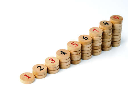 Wooden sudoku numbers in order   Lucky concept Stock Photo - 12805397