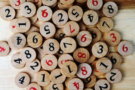 Wooden sudoku numbers, random choice  Lucky concept Stock Photo - 12805315