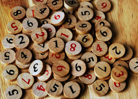 Wooden sudoku numbers, random choice  Lucky concept  Stock Photo - 12805314