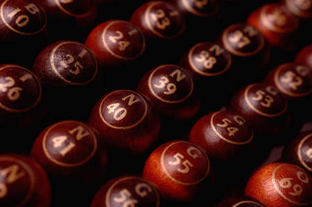 wooden bingo balls in a row