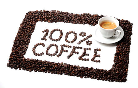 Frame of coffee beans and text 100   coffe