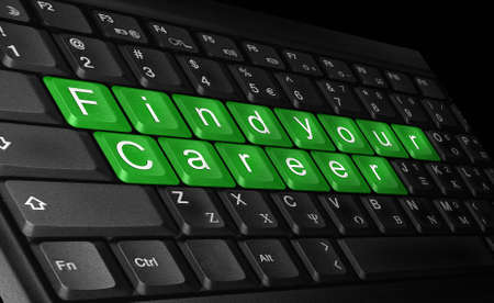 laptop  keyboard and text   find your career   colored   green  photo
