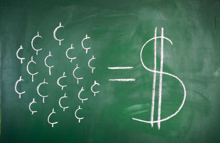 cent by cent concept of saving on a blackboard Stock Photo - 13770167