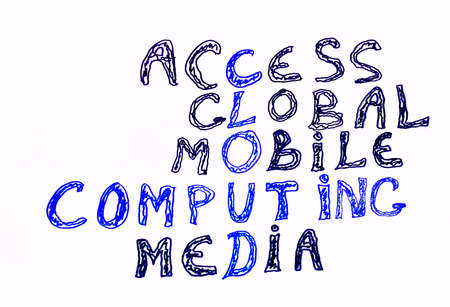 Cloud computing and other related words, handwritten with marker on white photo