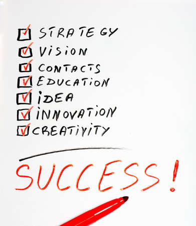 The word Success highlighted with red marker in a handwritten chart  Stock Photo