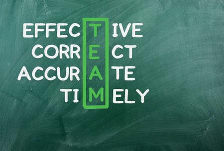 TEAM acronym written on green chalckboard  photo