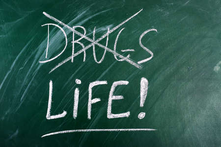 substance: say no to drugs,choice life- message on green chalkboard