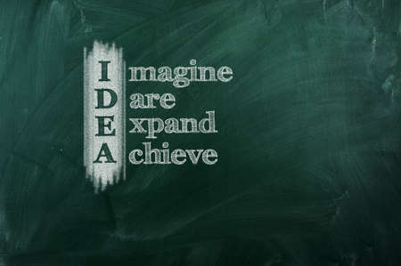IDEA acronym -  Imagine,Dare,Expand,Achieve   Drawn with chalk on a blackboard  Stock Photo