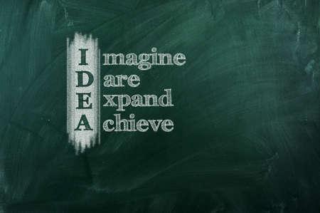 IDEA acronym -  Imagine,Dare,Expand,Achieve   Drawn with chalk on a blackboard  Standard-Bild
