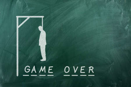 gallows game-businessman bancruptcy on green blackboard and text credit history