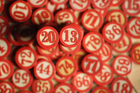 Wooden  numbers, random choice  2013 on focus Stock Photo - 15502318